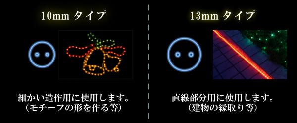 LEDチューブライト(ロープライト)2芯タイプ/直径10mm 10mmと13mmの違い